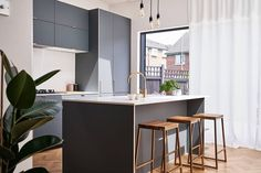 Fenix Verde Comodoro plywood fronts are combined with our brass edge pull handles in this stunning light filled kitchen by Plykea Ikea Hack Kitchen, Ikea Kitchen Cabinets, Kitchen Doors, Open Plan Kitchen, Kitchen Ideas, Plywood Kitchen, I Coming Home, Green Kitchen, Drawer Fronts
