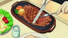 Laura has dinner with Charlotte, Infinite Stratos Episode Cute Food, Yummy Food, Anime Bento, Chibi Food, Food Wallpaper, Food Drawing, Food Illustrations, Aesthetic Food, Japanese Food