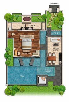 One-Bedroom Garden Villa Villa Plan, Sims 4 House Design, Small House Design, Bali Style Home, Resort Plan, Small Villa, Bali House, Modern Villa Design, Rest House