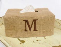 Burlap Monogram Rectangle Tissue Box Cover by headtotoe2009, $32.00