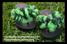 black polka dot and neon green tulle flip flops by codycreations3, $8.50