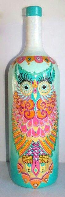 Lechuza botellas pintadas