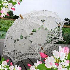 Cotton Lace Sun Wedding Embroidery Parasol Umbrella Bridal Accessory Party Decor