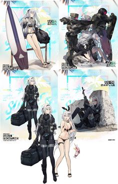 and continue to prove themselves to be the best girls. - When the damaged art is just the T-Doll getting ready to throw more hands Manga Anime, Manga Girl, Anime Military, Military Girl, Kawaii Anime Girl, Anime Art Girl, Fantasy Characters, Anime Characters, Character Concept