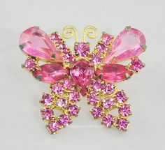 Vintage Signed WEISS Small Pink Rhinestone Butterfly Brooch by AmazingAdornments, $40.00