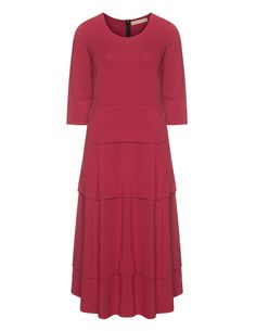 Isolde Roth A-line midi-length cotton dress in Bordeaux-Red