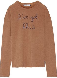 Lingua Franca - I've Got This Embroidered Cashmere Sweater - Camel - x small Beautiful Outfits, Cool Outfits, Sweater Weather, Cashmere Sweaters, Boyfriend Jeans, Knitwear, Autumn Fashion, Women Wear, Just For You