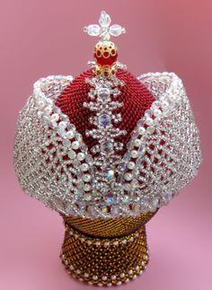Vajíčko - ve tvaru královského jablka, zdobené barevnými korálky * Rusko