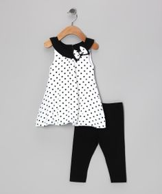 Another great find on #zulily! A.B.S. by Allen Schwartz Black & White Polka Dot Libby Tunic & Leggings - Girls by A.B.S. by Allen Schwartz #zulilyfinds