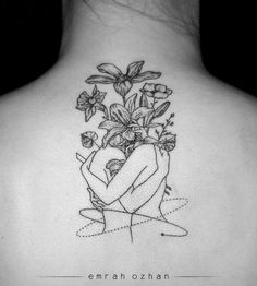 Hugging in flowers Tattoo