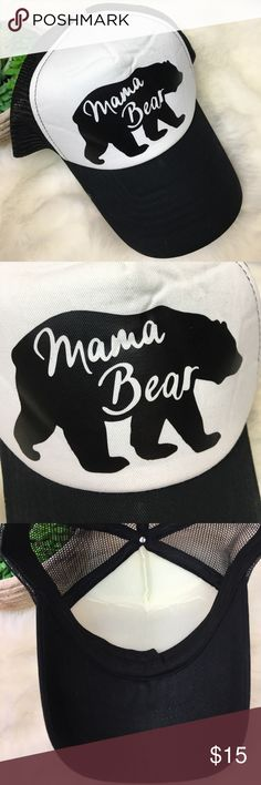 Mama Bear Black & White Truckers Hat Cap SnapBack How ADORABLE is this hat?!? Mama Bear Black & White Snap Back Truckers Hat. Mesh front. Adjustable back. In EXCELLENT condition from a smoke feee home!! Fun retro looking cap!! • Bundle & Save • Accessories Hats