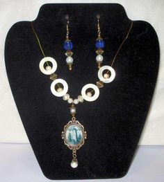 Blue Willow Style Lighthouse Necklace