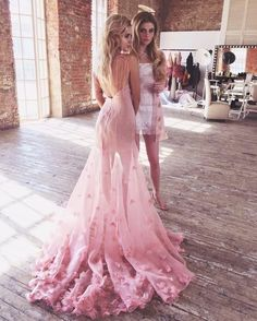 Sexy Pink Open Back Tulle Prom Dresses Long