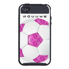 Pink Lipstick Kisses Pink Soccer Ball Skinit Cargo iPhone 4 Cases!