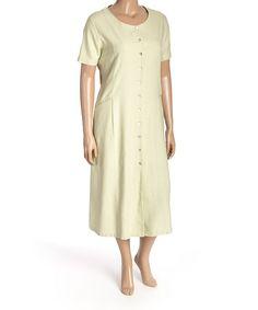 Another great find on #zulily! Sage Tie-Back Button-Front Silk Dress - Plus #zulilyfinds