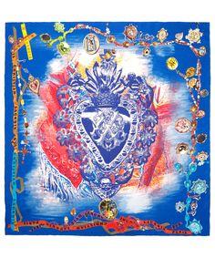 Christian Lacroix blue royal crest silk scarf | Scarves by Christian Lacroix | Liberty.co.uk