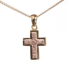 """Stunning Champagne Natural Druzy Cross (also available in white) by MyLittleLuxuryShop, $28.00 Pendant comes on a sparkly 18"""" gold plated chain. www.LittleLuxuryShop.com"""