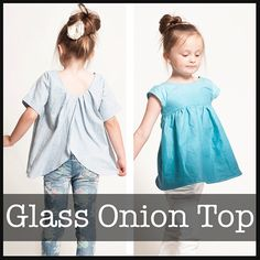Shwin Designs Glass Onion Top Sewing Pattern - The Glass Onion Top is a sweet girl's top with swinging silhouette. The top features a fitted front bodice with gathered skirt and over lapping back panels. A low scoop back allows for the top to slip right over the head without any buttons or zippers. Choose a pleated or regular back to change up the look and fit, as well as three different sleeve options which take the top through all 4 seasons.  ::  $9.00