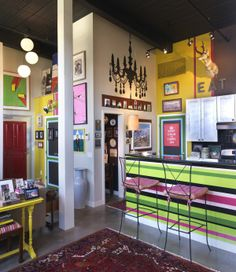 Awesome kitchen. Looks like a quirky cafe.