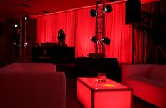 Red themed party with all red accent lighting