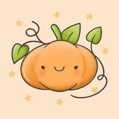 Pumpkin Drawing, Pumpkin Art, Cute Pumpkin, Cute Cartoon Drawings, Cute Animal Drawings, Easy Drawings, Kawaii Doodles, Cute Doodles, Pumpkin Tattoo