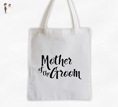 Mother of the Groom Cotton Canvas Tote Bag - Brush Script Bridal Party Attendants Gift (3001-MG) - Bridal handbags (*Amazon Partner-Link)