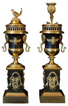 Pair Antique Empire Bronze Cassolettes #downtonabbey