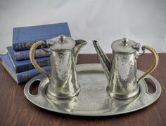 Vintage Pewter Coffee Set Hand Hammered Abbey from LoAndCoVintage