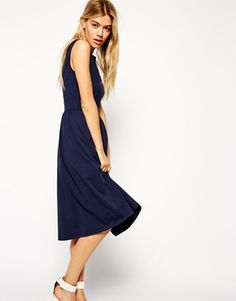 a030388d3a ASOS Sleeveless Midi Skater Dress with Wrap Back at asos.com