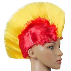 Halloween Party LED Light Wig Masquerade Punk Mohawk Mohican Hairstyle Cockscomb Wig Festival Rainbow Wig for Cosplay HT