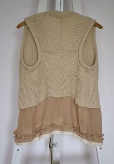 upcycled clothing knitted vest beige tunic cotton by smArtville