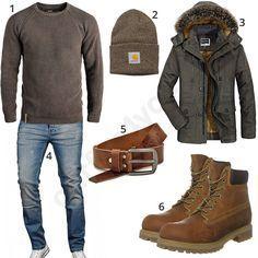 Braunes Winteroutfit für Herren mit Parka (m0752) #pullover #parka #mütze #carhartt #boots #outfit #style #herrenmode #männermode #fashion #menswear #herren #männer #mode #menstyle #mensfashion #menswear #inspiration #cloth #ootd #herrenoutfit #männeroutfit