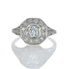 Leigh Jay Nacht Inc. - Replica Art Deco Engagement Ring - 1316-14 - love love love love love $3650