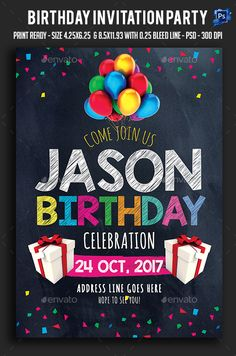 Birthday Invitation Party Flyer  — PSD Template #birthday event #birthday party…