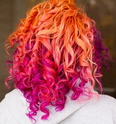 A collection of images for all your hair inspiration needs. Pink And Orange Hair, Purple Hair, Pink Purple, Ombre Hair, Neon Hair, Orange Red, White Hair, Teal, Funky Hairstyles