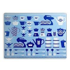 Denby Lifestyle Retro Kitchen Glass Worktop Saver, Blue:Amazon.co.uk:Kitchen & Home