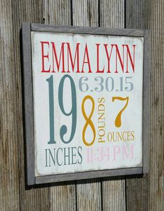 Check out this item in my Etsy shop https://www.etsy.com/listing/250584269/birth-announcement-sign-birth-newborn