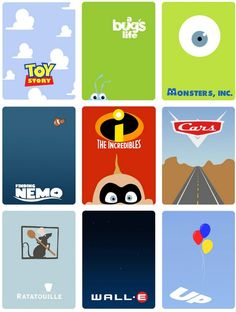 PIXAR posters. Need Brave and Monsters Uni.