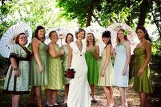 For the bridesmaids...it's more interesting to the eye to have numerous pattern and colors and this way the bridesmaid gets to pick a dress she could potentially wear again!