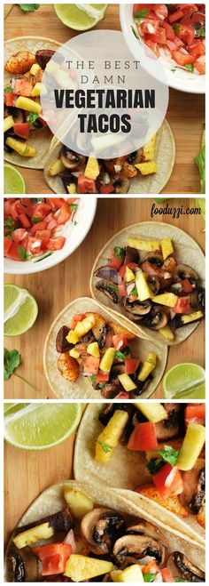 The Best Damn Vegetarian Tacos: healthy, full of vegetables, gluten free, and vegan...these are seriously some of the best tacos I've ever had! || fooduzzi.com recipes