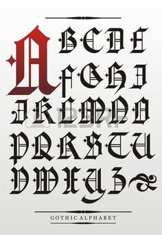 gothic font alphabet with decorations photo Gotisches Alphabet, Alphabet Police, Fonte Alphabet, Gothic Alphabet, Graffiti Alphabet, Gothic Lettering, Graffiti Lettering Fonts, Gothic Fonts, Creative Lettering