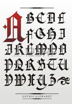 alfabeto fuente gótico con adornos. Foto de archivo - 17929600