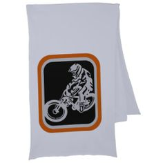 "Downhill MTB scarf for him A downhill mountainbike and rider. The bike is drawn in grey, using ""white space"" technique on a black background. The rider is going down hill and is given perspective by the front wheel of the bike looking larger (closer) than the rear.    Created By mailboxdisco"