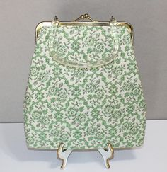Sweet Vintage, Long White, Green & Brown, Needlepoint Purse with Lucite Handle