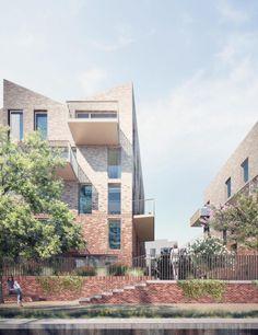 Duggan Morris Architects - Brentford_Canal-Wall #appartementen #baksteen #materialisatie render begrenzing tuinmuur