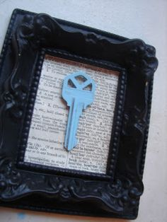 Frame the key from your first home together--add a street map behind the key!