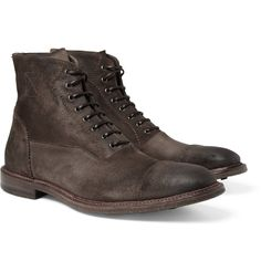 newest 72858 6d8fa Alexander McQueen Contrast-Welt Washed-Suede Boots   MR PORTER Tenis, Botas  Masculinas