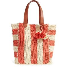 Women's Sole Society 'sherwood' Straw Beach Tote (125 MYR) ❤ liked on Polyvore featuring bags, handbags, tote bags, beach bag, striped beach bag, handbags totes, woven tote and beach tote bags