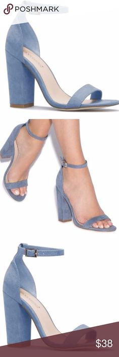 """Dusty Blue BLOCK HEEL - Bran New SIZE: 9 MATERIAL: Faux-suede. Imported. COLOR: DUSTY BLUE OUTSIDE HEEL HEIGHT:4"""" FIT:True to size CLOSURE: Adjustable buckle Shoes Sandals"""