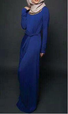 Blue Maxi Dress With Hijab #maxihijab